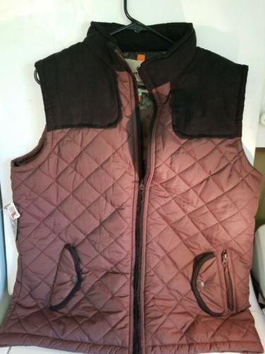 mens brown quilted puffer vest sz xl
