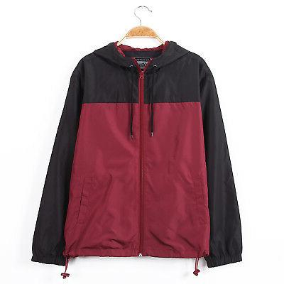 mens color block hood lightweight windbreaker zip