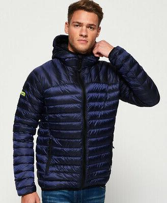 mens core down hooded jacket navy
