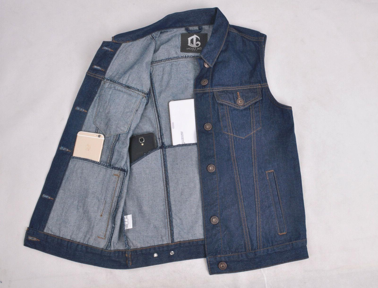 Mens Denim Jacket Sleeveless Bikerjacket DL-67117