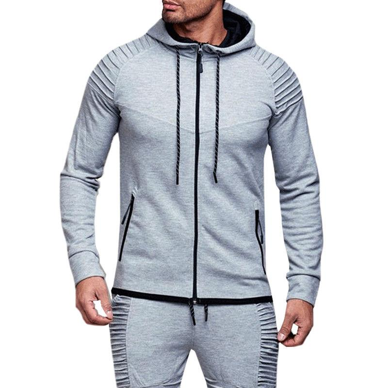 Mens Hoodie Sweatshirt Casual Hooded Jacket Outerwear Sweats Without