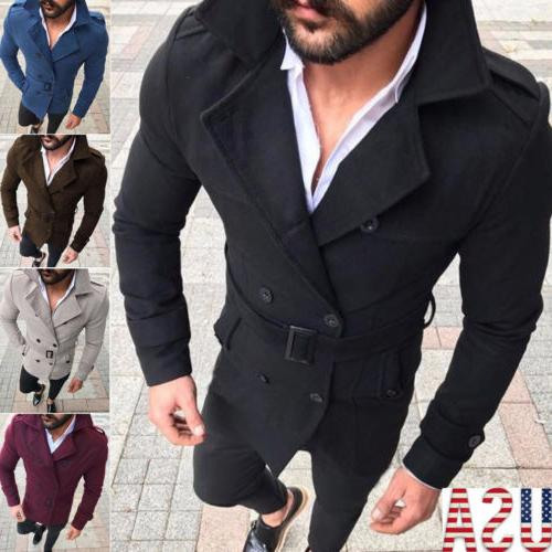 Mens Pea Coat Warm Wool Blend Double Breasted Dress Jacket P