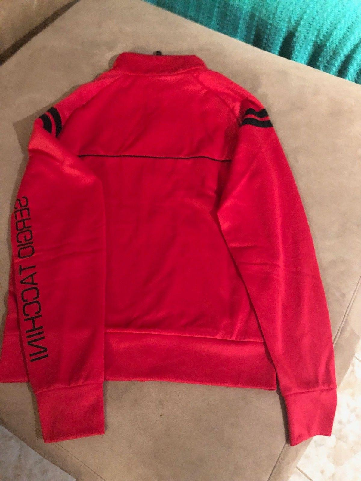 Mens Sergio Tacchini Tennis Track Jacket M Full Zip  Red