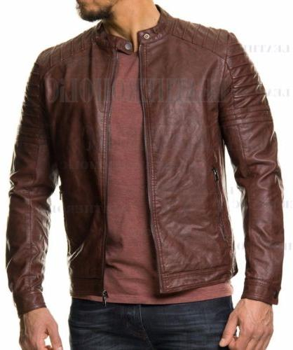 MENS LEATHER JACKET FIT REAL NEW XS-3XL