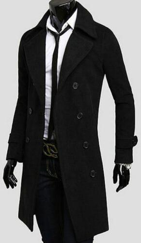Mens Winter Warm Trench Double Breasted Overcoat Long Jacket