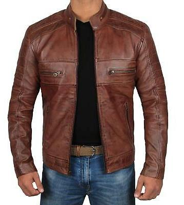 Decrum Moto Leather Jacket Men - Brown Quilted Mens Leather
