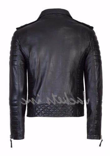 New Men's Genuine Leather Jacket BROWN Biker jacket