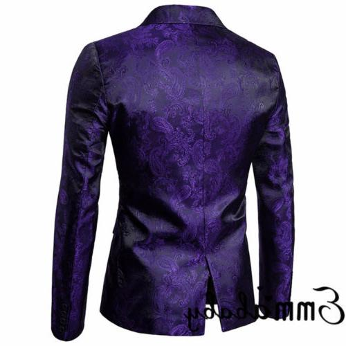New Mens Slim Fit One Button Suit Blazer With