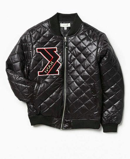 New KARL KANI QUILTED INSULATED JACKET BLACK EMBROIDERED COA