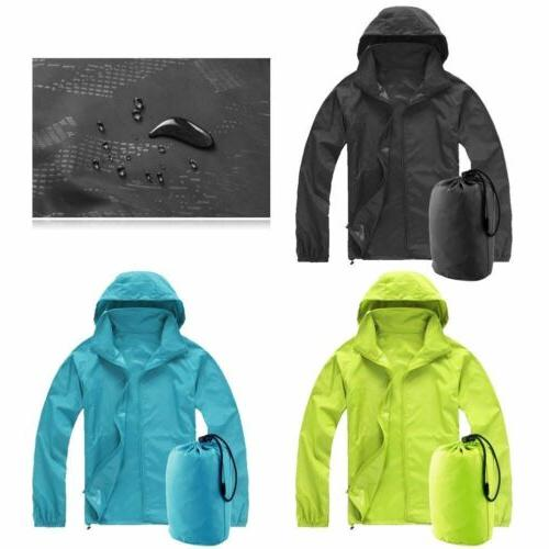 Men Women Unisex Waterproof Hooded Windbreaker Lightweight Z