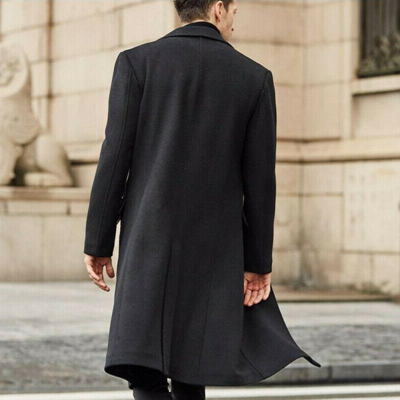 US Fashion Men Warm Overcoat Trench Long Jacket