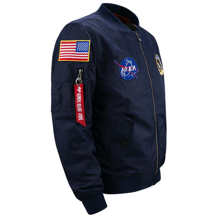 US MENS EMBROIDERED NASA JACKET MILITARY ARMY BOMBER