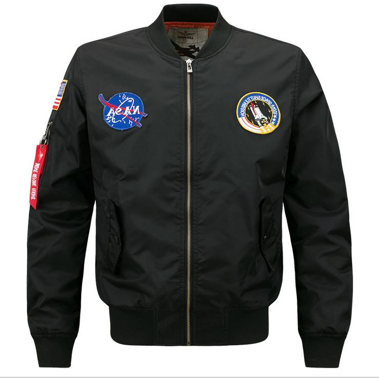 us mens embroidered nasa jacket military army