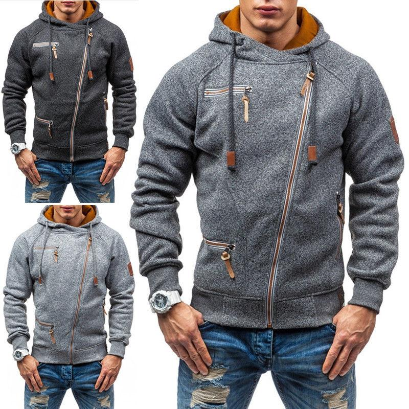 US Mens Sweatshirt Pullover Zipper Up Casual Hoodie Hooded S