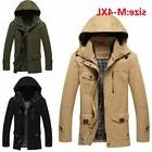 Winter Men's Hooded Windbreak Jacket Long Slim Zipper  Warm