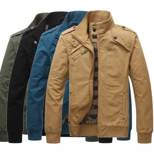 Winter Solid Color Jacket Mens Zip Coat Fashion Casual Overc