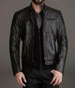Leather Jacket Mens Motorcycle Men Real Lambskin Biker Coat
