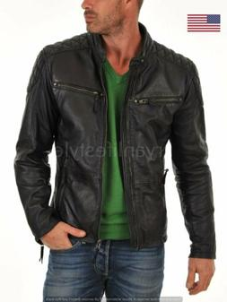 Leather Jacket Real Lambskin Mens Black Men's Slim Fit Motor