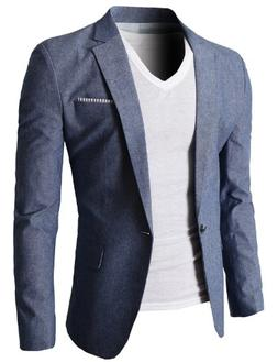 H2H Mens Fashion Linen Blazer Jackets Single Two Buttons BEI