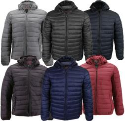 Men's Lightweight Slim Fit Packable Puffer Hooded Zipper I