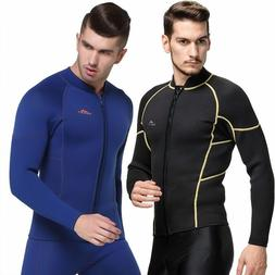 Men 3MM Neoprene Wetsuit Jacket Top Long Sleeve Warm Surfing