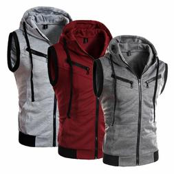 Men Hoodie Sleeveless Zipper Sweatshirt Hooded Jacket Vest C
