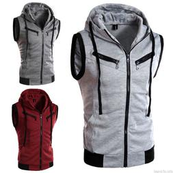Men Summer Sleeveless Hoodie Zipper Casual Sports Gym Fitnes