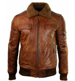 Men's B3 BROWN Bomber Top Gun Pilot Aviator Leather Classic