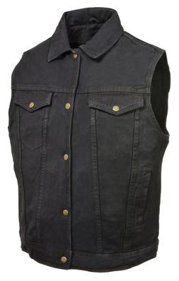 MEN'S MILWAUKEE  BIKER DENIM VEST JACKET GUN POCKETS W/COLLA