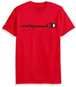 Champion Men's Classic Jersey Script T-Shirt, Athletic Red,