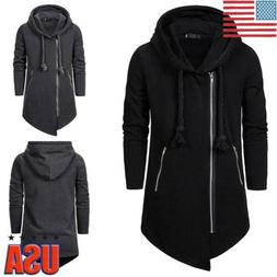 Men's Gothic Parka Jacket Side Zip Winter Warm Hooded Sweate
