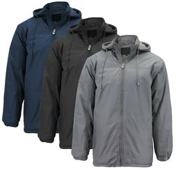 Men's Heavyweight Polar Fleece Zip Up Windbreaker Hood Insul