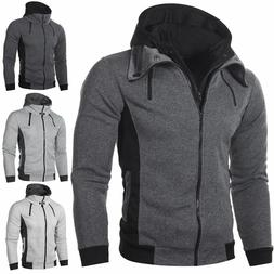 Men's Hooded Slim Sweatshirts  Double Zippered Jackets Solid