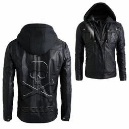 Men's Motorcycle Brando Style Hoodie Leather Jacket with Det