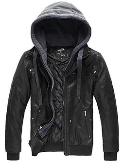 Wantdo Men's Pu Leather Jacket with Removable Hood US X-Larg
