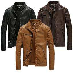 Men's PU Leather Motorcycle Jackets Slim Fit Casual Biker Ja