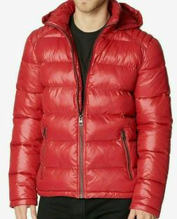 men s puffer jacket removable hood red
