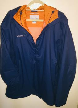 Columbia Men's Rain Jacket Carbon Blue Hooded Waterproof Wat