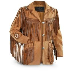Men's Traditional Cowboy Western Leather Jacket coat With Fr