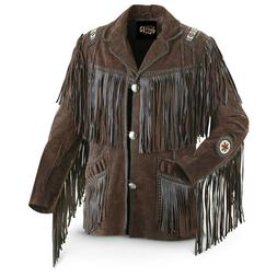 Men's Traditional Western Cowboy Leather Jacket coat with fr