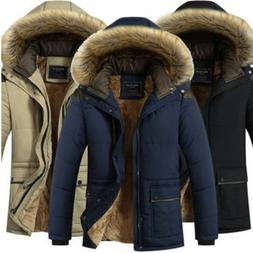 Men's Warm Down Cotton Jacket Fur Collar Thick Winter Hooded