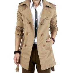 Men's Winter Slim Double Breasted Trench Coat Long Jacket Ov