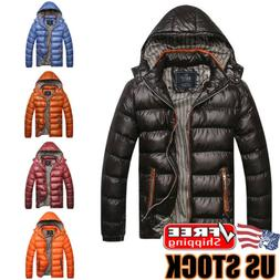 Men's Winter Warm Hooded Thick Padded Jacket Zipper Casual P