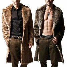 Men Winter Warm Faux Fur Coat Fashion Jacket Parka Male Over