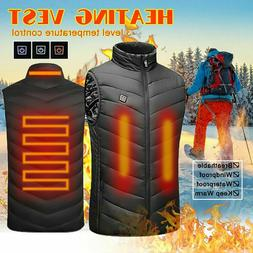 Mens Electric Vest Heated Jacket USB Warm Up Winter Pad Body