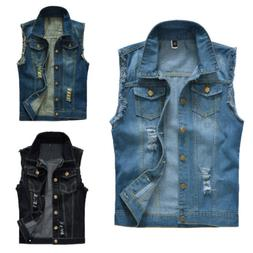 Men Women Retro Sleeveless Demin Blue Black Vest Jean Jacket