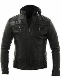 Mens Biker Racing Style Motorcycle Real Leather Jacket With
