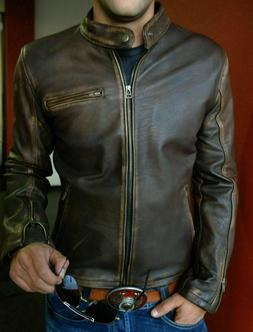 Mens Biker Real Leather Vintage Motorcycle Distressed Brown
