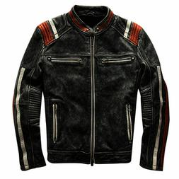 Mens Biker Vintage Motorcycle Cafe Racer  Black Retro Distre