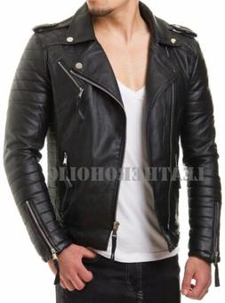 MENS BLACK GENUINE LEATHER JACKET SLIM FIT REAL BIKER NEW XS